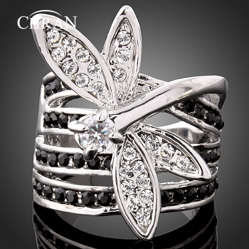 CHRAN Silver Plated Dragonfly Shape Womens Crystal Finger Ring Classic Ladies Statement Engagement Jewelry