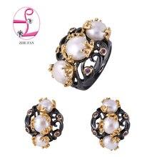 ZHE VENTILADOR Negro Shell Joyería de Perlas de Color de Oro de La Vendimia Mujeres Simulado Blanco Perla Juegos de Anillos Pendientes Para La Señora de Regalos