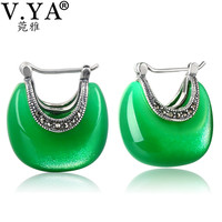 V YA 925 Sterling Silver Moon Shape Drop Earrings Elegant Green Opal Stone Earrings Vintage Women