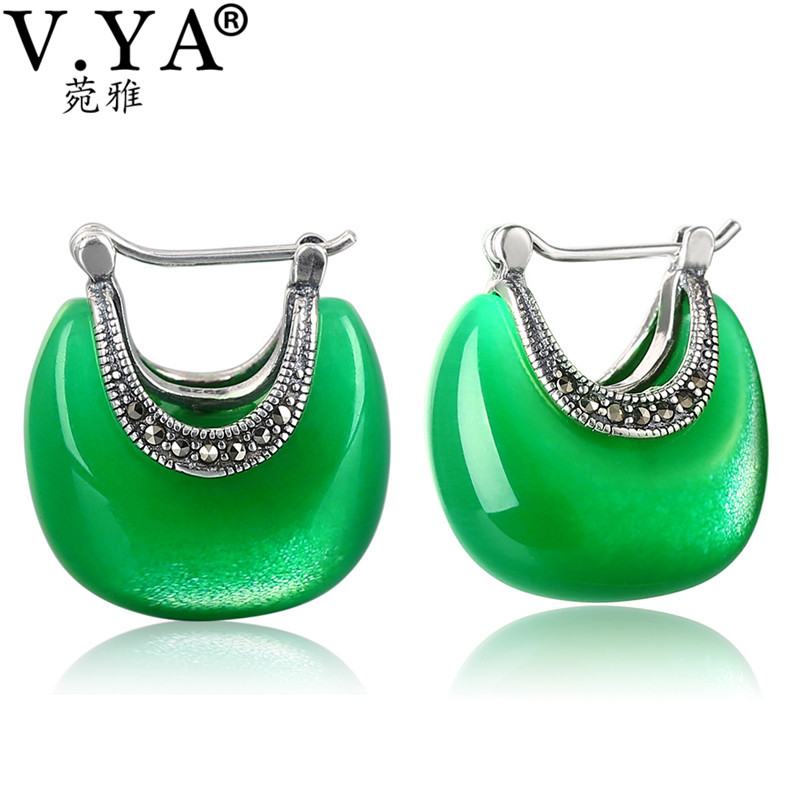 V.YA 925 Sterling Silver Moon Shape Drop earrings Elegant Green Opal Stone earrings Vintage Women earrings Female Fine Jewelry silver long chain hanging earrings moon star shape