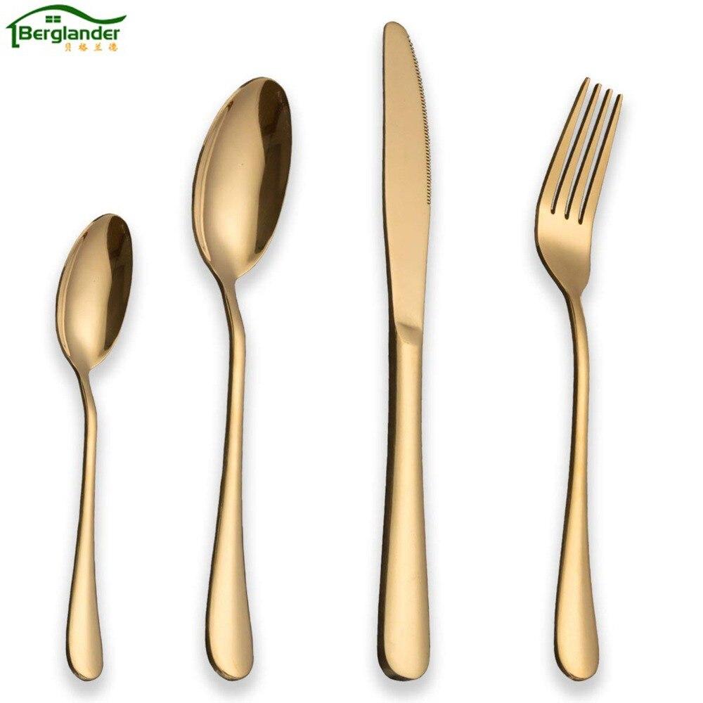 BERGLANDER 24PCS/set Golden Cutlery Set Stainless Steel Western Food Tableware Sets Knife Fork spoon Steak Knife Dinnerware Set