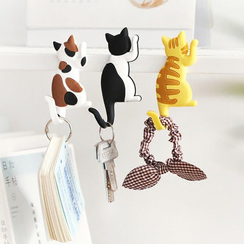 Multi-functional Cartoon Cat Magnet Hook Fridge Keys Holder Wall Hanger Hooks Refrigerator Sticker Home Storage