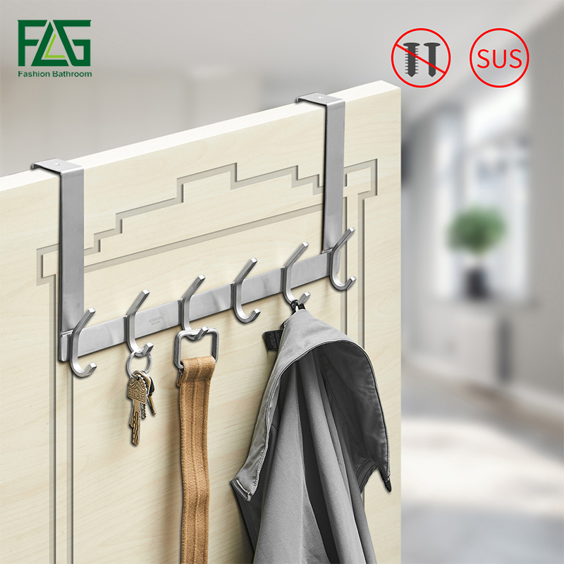FLG Modern Style Nickel Brushed Clothes Hook Bedroom Backpack Stainless Steel Towel Door Hardware Accessories