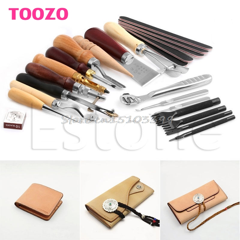 1Set Leather Craft Stitching Carving Working Sewing Saddle Groover Punch Tools G08 Drop ship 23pcs leather craft tools kit hand leather sewing canvas stitching punch carving work saddle diy leather craft sewing tool set page 7