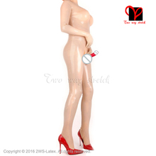 Sexy Latex Suit with feet silicon breast Latex Catsuit Penis Sheath condom Rubber catsuit overall socks gloves plus XXXL LT-064