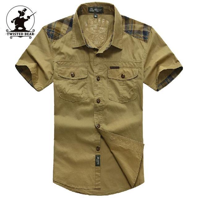Militar Marca de alta qualidade Camisa Ocasional Dos Homens de Moda Verão 100% Algodão Plus Size Camisas de Manga Curta Dos Homens Puxar Início C16B1392