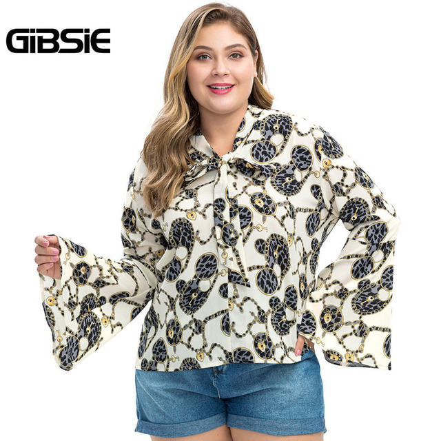 GIBSIE Plus Size Chain Print Bow Tie Neck Long Sleeve Shirt Women Tops Autumn Fashion Elegant Office Lady Workwear Women Blouses 2