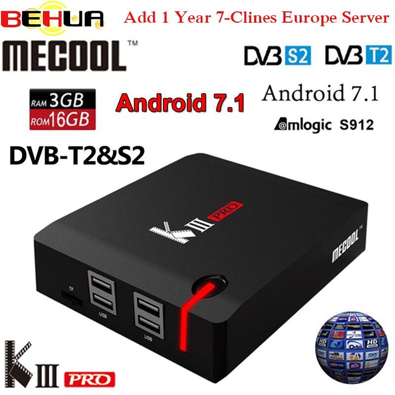 MECOOL TUER PRO Android 7.1 TV Box avec 1 An 7 Clines 4 K Combo DVB-S2 android DVB-T2 DVB-C 3 GB 16 GB Amlogic S912 Octa Core k3