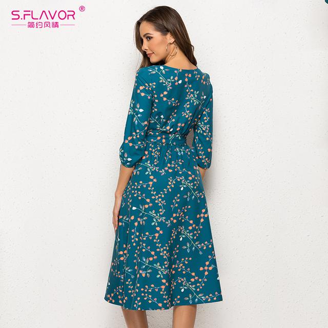 Spring Autumn Casual Dress Women V Neck