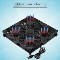 Laptop base silent cooling fan 12cm USB 5V multi fan combination with plastic mesh cover and silicone pad for router, PS4 Xbox