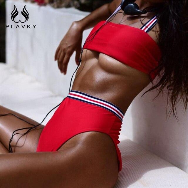 c29f16d7a079f PLAVKY 2018 Sexy Striped Bandage High Waist Biquini Bandeau Swim Bathing  Suit High Cut Swimsuit Thong Swimwear Women Bikini Set