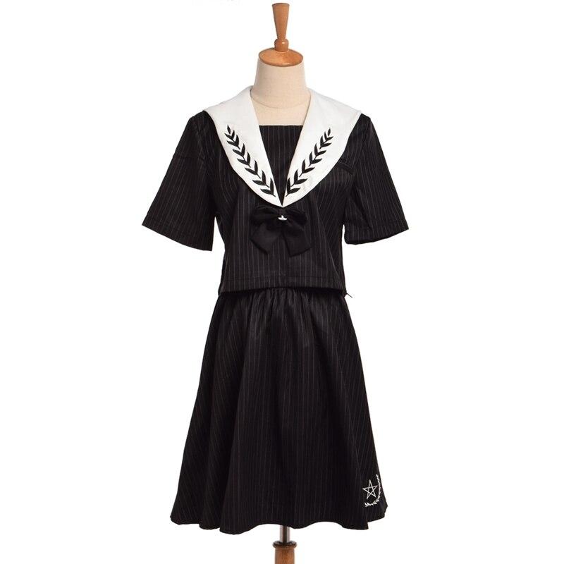 Filles japonais JK uniforme tenue blé broderie noir rayé col marin chemise avec noeud de cou + jupe taille élastique