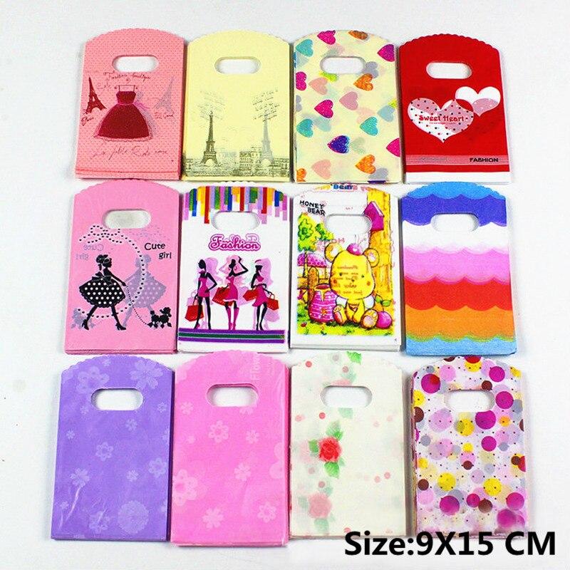 30 шт. пластиковая сумка для ювелирных изделий Рождественский свадебный подарок мешочки для украшений сумки башня розовое сердце 14 цветов розовые косметические сумки