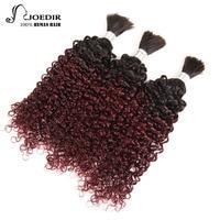 Joedir Pre colored Peruvian Hair Curly Human Braiding Hair Bulk Wave 3 Bundles Deal No Weft Remy Hair Bundles Ombre 99J
