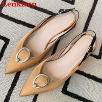 Large size low heels concise princess style dating party pointed toe silk pig leather slip on pearl slingback women sandals L1f1
