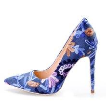 Pink Palms summer autumn shoes women high heels pumps embroider denim pointed toe party wedding dress pumps