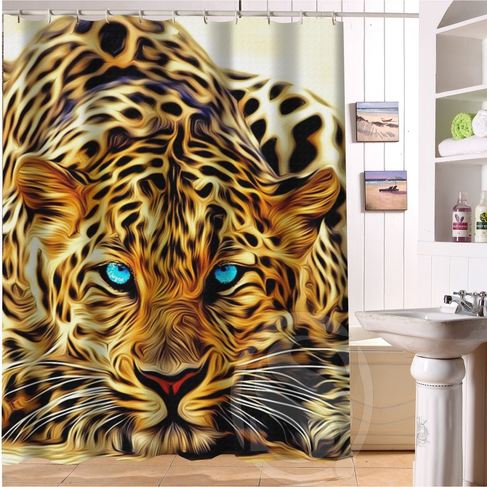 Hot Sale Custom Leopard And Tiger Animal Print Shower Curtain Bath Bathroom Size 60X72inch
