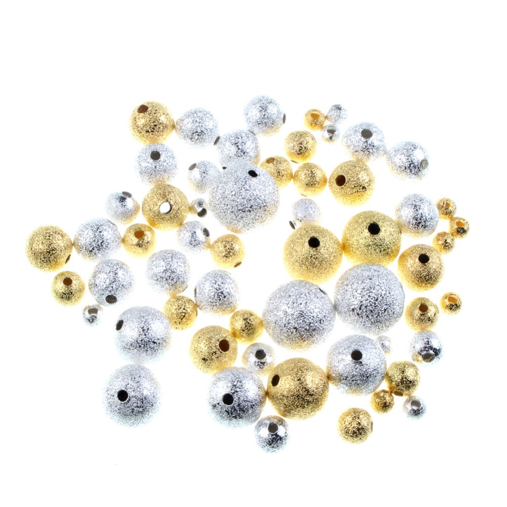 60 New Charms Loose Hollow Ball Copper Spacer Beads Silver Plated 6mm