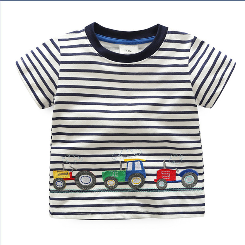 Baby boys new designed striped short sleeve t shirts boys cute cartoon summer t shirt top quality boys girls clothing 2017 ...