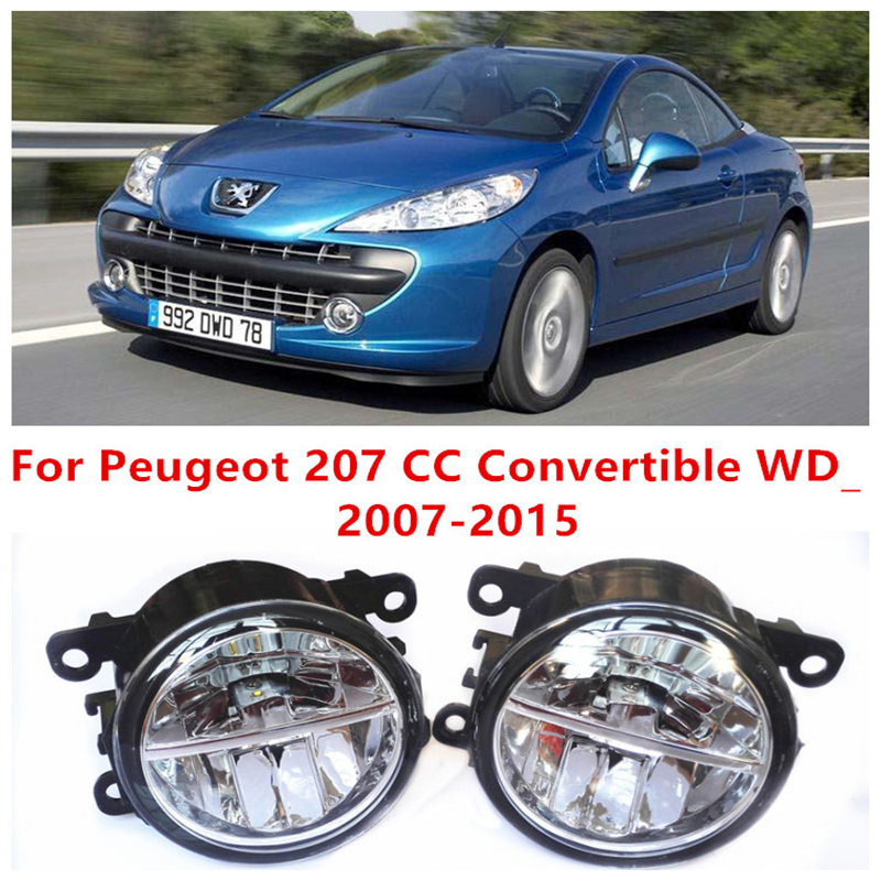 ФОТО For Peugeot 207 CC Convertible WD_  2007-2015 10W Fog Light LED DRL Daytime Running Lights Car Styling lamps