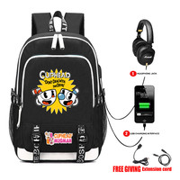 Game Cuphead Backpack USB Charge Headphone Jack Teenagers Computer Bags Schoolbag student book bag Men Women Travel Bag