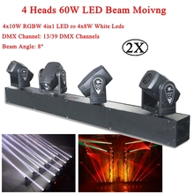 4 Heads 60W RGBW ro White LED Mini Beam Moving Head Light Stage DJ Lighting DMX Sound Controller Party KTV Disco Projector Laser free shipping 4 heads 60w led mini beam moving head light professional stage dj lighting dmx controller disco projector lasers