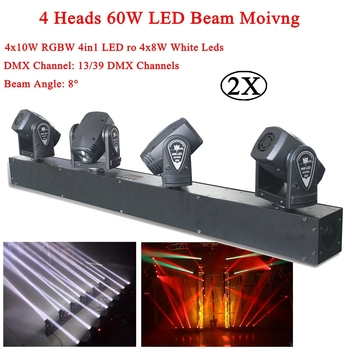 4 Heads 60W RGBW ro White LED Mini Beam Moving Head Light Stage DJ Lighting DMX Sound Controller Party KTV Disco Projector Laser