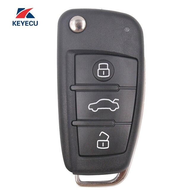 Clé à distance pliante sans clé KEYECU 3 boutons puce 433 MHz 8E pour Audi Q7 8E0 837 220AF