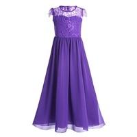 Summer Girls Lace Cap Sleeves Flower Dresses Kids Elegant Wedding Bridesmaid Gown Dresses Vestidos