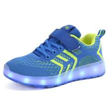 Kids Girl Boy Glowing Sneakers Children Shoes with light USB Charger Luminous Lighted LED lights Casual Flat Boy girl Shoes(China)
