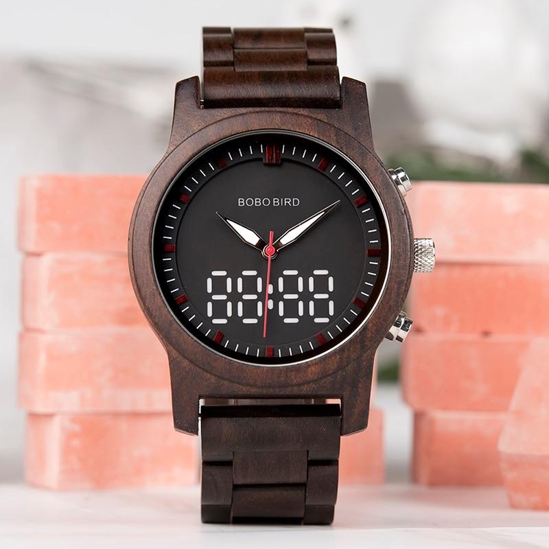 все цены на BOBO BIRD Watch Men Bamboo Wooden Wristatches Male black erkek kol saati Timepiece in gift box Engrave logo онлайн