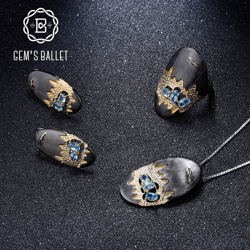 GEM S BALLET Natural Swiss Blue Topaz Handmade Statement Jewelry Set 925 Sterling Silver Ring Earrings