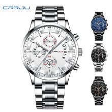 relogio crrju fashion mens watches top brand luxury quartz watche men Chronograph Stainless Steel Quartz Mens Wristwatch
