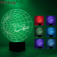 3D Illusion Lamp Acrylic LED Night Light Aircraft Table Desk Bulbing Lamps Custom Engraving Mood Lamp