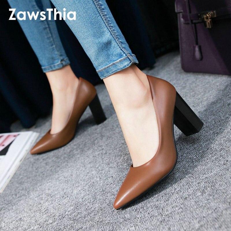 ZawsThia 2019 Spring Shoes Woman High Heel Off White Brown Black Block High Heeled Shoes Women's Pumps Stilettos Large Size 42