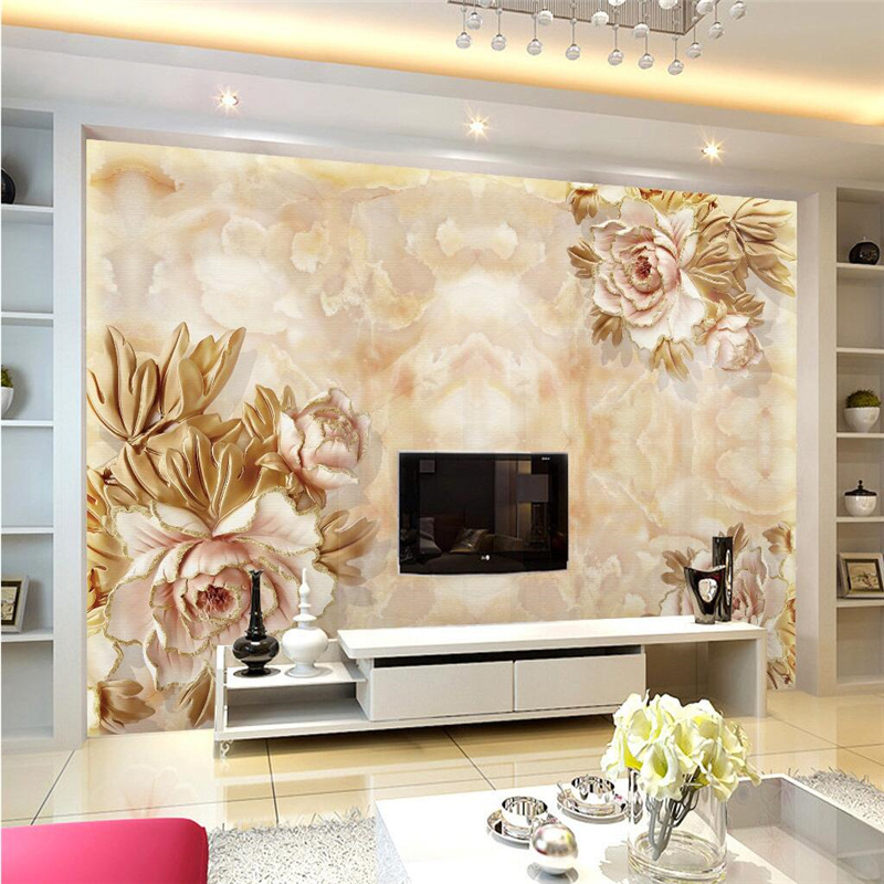 Beibehang Peony Relief Custom Photo Wallpaper Large Wall Painting