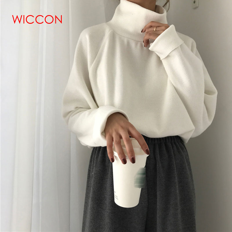 Autumn New Women Sweater Casual Loose Turtleneck Knitted Jumpers 2020 Long Batwing Sleeve Crocheted Pullovers Winter Basic Tops
