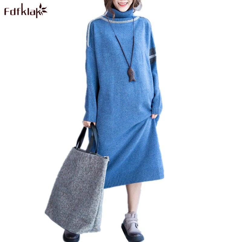 Fdfklak Spring Autumn Woman Casual Dress Vintage Knit Long Sweater Dresses Turtleneck Pullovers Warm Women Dress Vestidos thumbnail