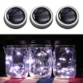 3 Pcs Creative 3 Pcs Solar Mason Jar Fairy Light With White LED for Glass Mason Jars Party Garden Wedding Light Decorations