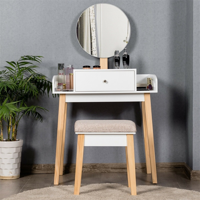 Modern Women Wooden Makeup Dresser Vanity Desk For Bedroom Furniture Set Dressing Mirror Table Set with 1 Drawer HW61311