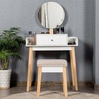Modern Women Wooden Makeup Dresser Vanity Desk For Bedroom Furniture Set Dressing Mirror Table Set with 1 Drawer HW61311