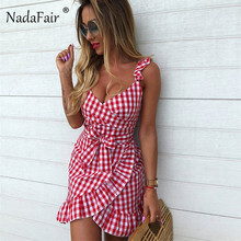Nadafair volantes vestido cuadros Vintage 2019 mujeres sin respaldo Sexy  Bodycon vestido de verano vestido Sash arco de encaje M.. 6d59897c7cd0