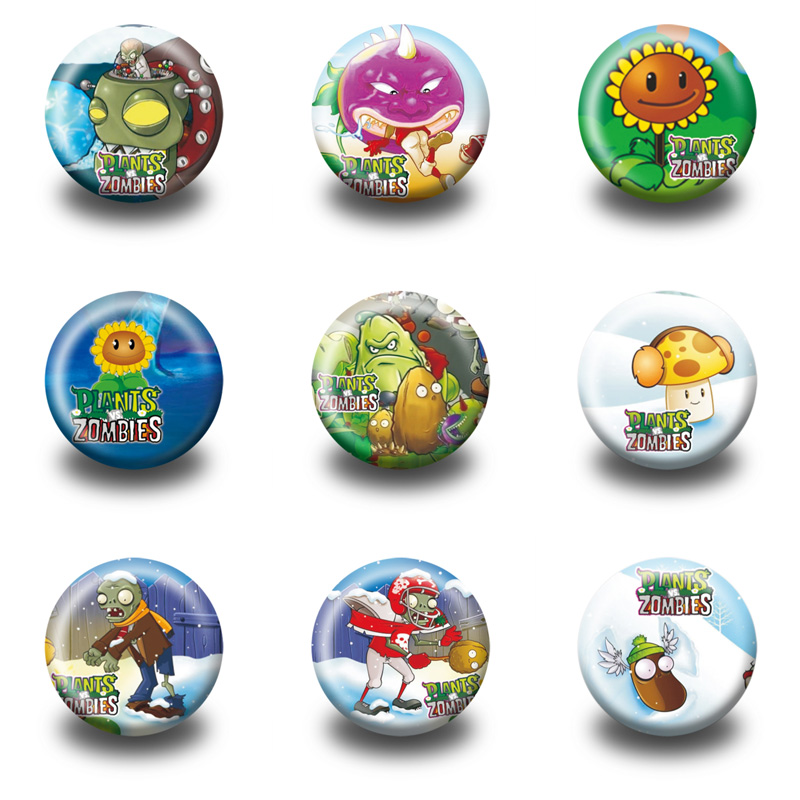 9Pcs Plants VS Zombies fashion badges  Button Pin Round Brooch Badges,clothes Bags Decorate,party gift мягкие игрушки plants vs zombies котенок 15 см