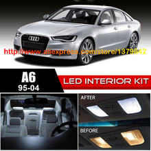 Free Shipping 20Pcs/Lot 12v car-styling Xenon White/Blue Package Kit LED Interior Lights For 95-04 Audi A6 CanBus(China)