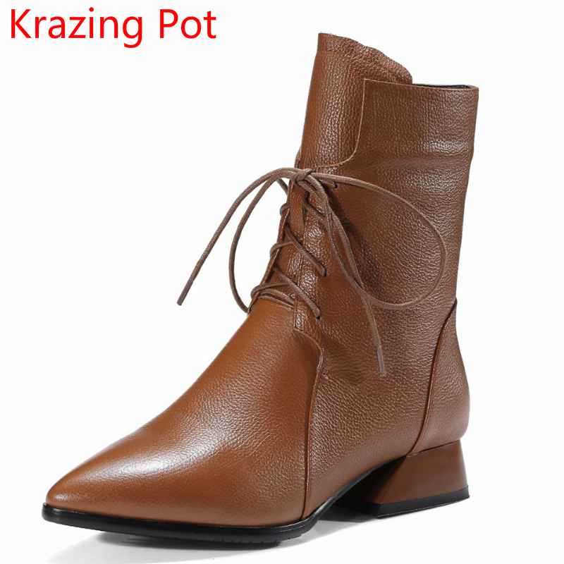 2018 New Arrival Brand Winter Shoes Lace Up Runway Solid Sexy Pointed Toe Thick Heel Genuine Leather Handmade Mid-Calf Boots L51 2018 new arrival fashion winter shoe genuine leather pointed toe high heel handmade party runway zipper women mid calf boots l11