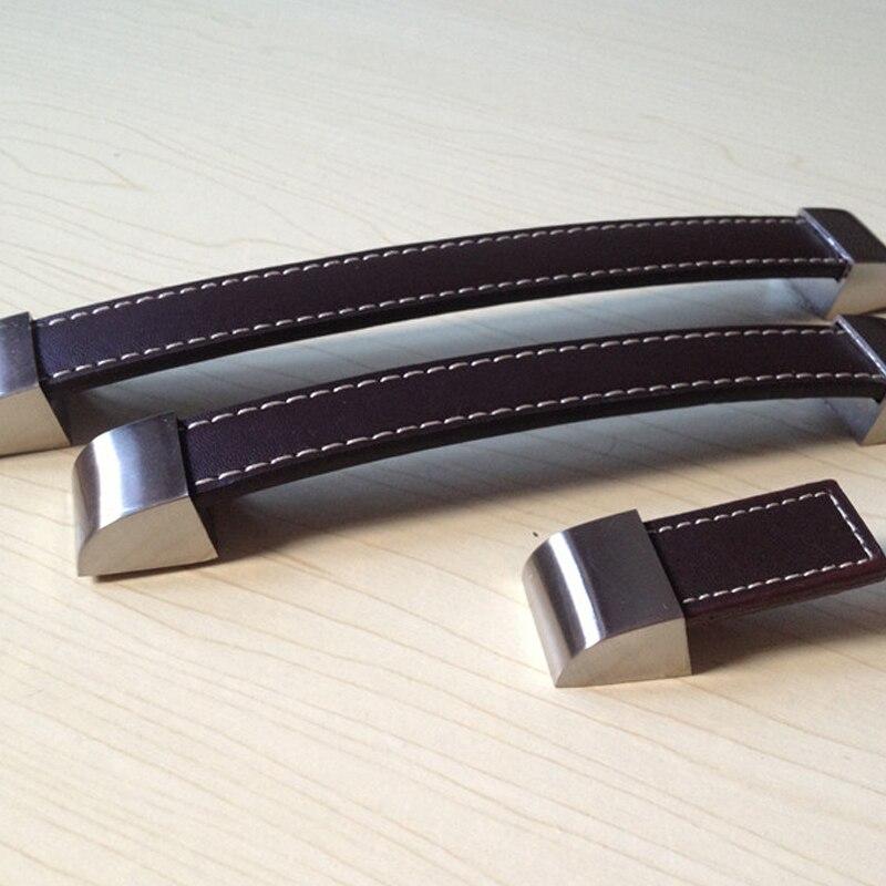 128mm brown leather cabinet hardware pulls knob kids kitchen drawer dresser closet knobs handle. Black Bedroom Furniture Sets. Home Design Ideas