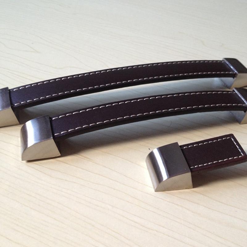 128mm Brown Leather Cabinet Hardware Pulls Knob Kids Kitchen Drawer ...