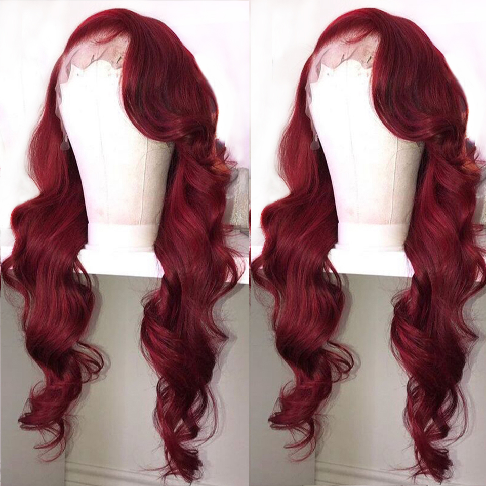 Red Colored 13x6 Deep Lace Front Human Hair Wigs 360