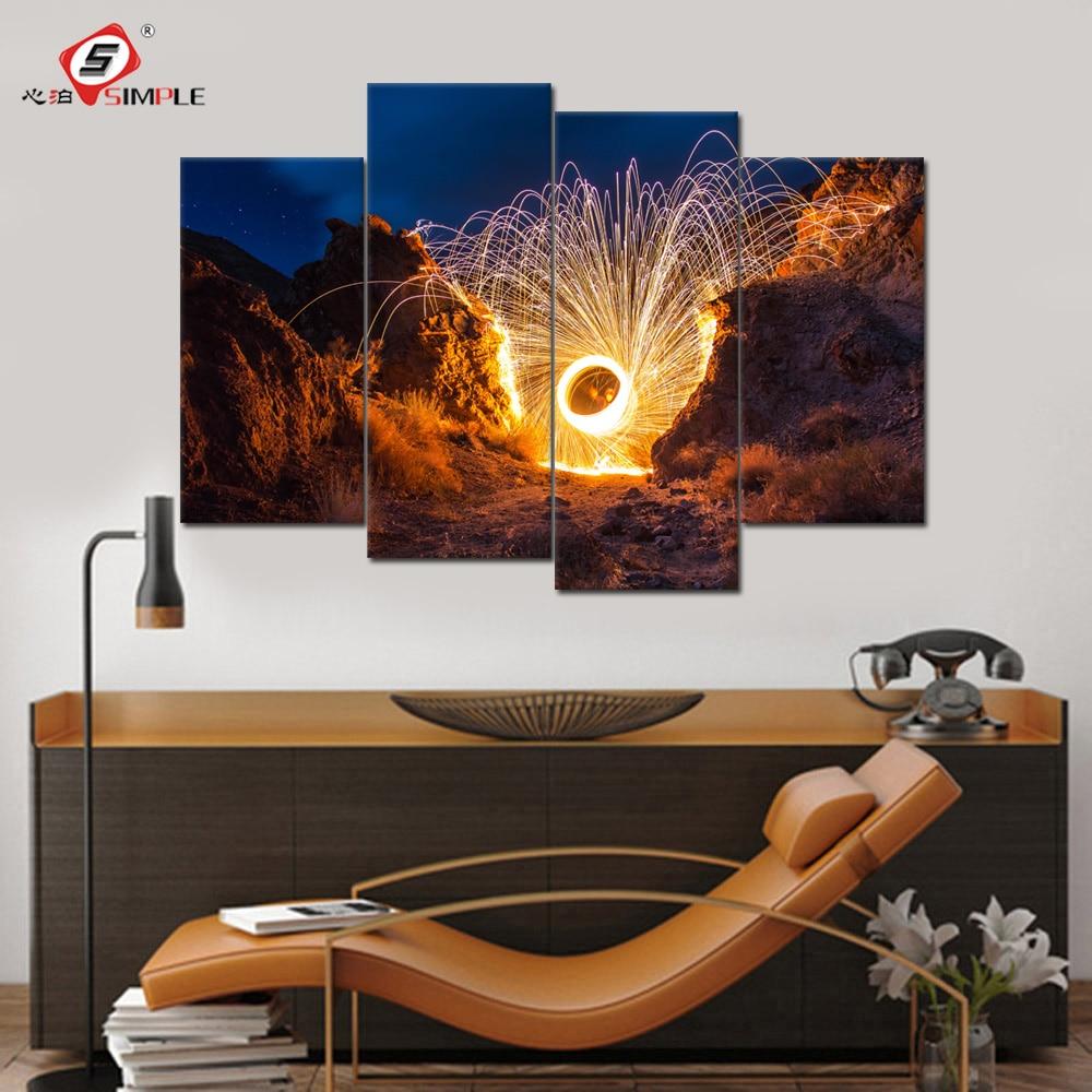 Простой Прямая доставка 4 панели Огненный Цветок картина на стены Пейзаж Стиль стены холст фотографии для Гостиная