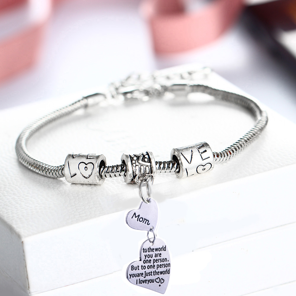 I Love You Mom Bracelet Double Heart Pendant Mama Mommy Mothers Bracelets Charm Chain Bangle Family Gifts Love Beads Jewelry